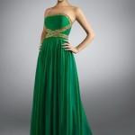 длинное зеленое платье, фасон 2013