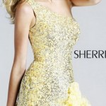 золотистое короткое платье на выпускной бал