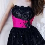 черное-розовое выпускное платье