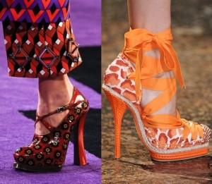красные кожаные туфли, оранжевые туфли на высоких каблуках