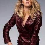 бордовая модная женская кожаная куртка 2013 весна-лето