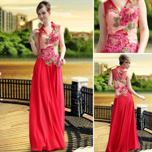красное светлое свадебное платье 2013