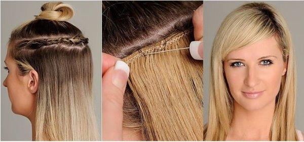 крепление волос трессами